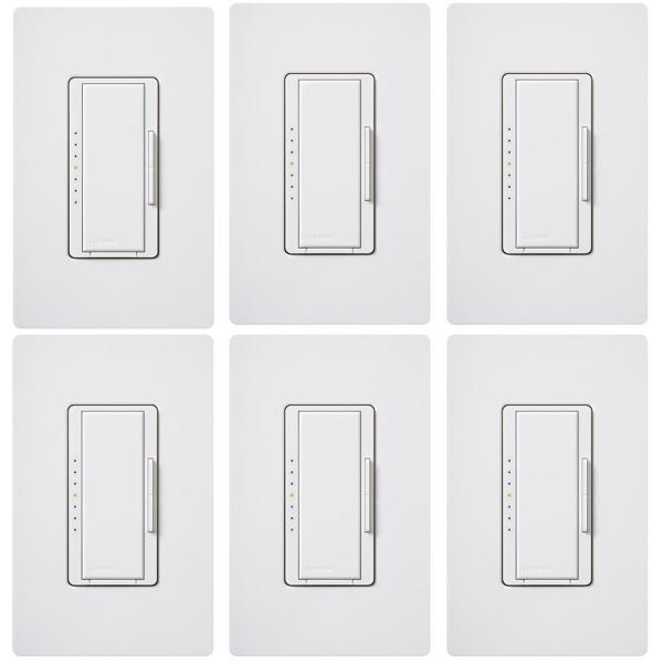 Maestro LED+ Dimmer Switch for Dimmable LED, INC/HAL Bulbs, Single-Pole or Multi-Location, with Wallplate White (6-Pack)