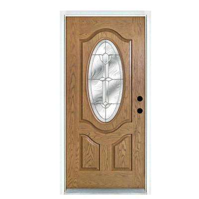 36 in. x 80 in. Flores Light Oak Right-Hand Inswing 3/4 Oval Lite Decorative Fiberglass Prehung Front Door