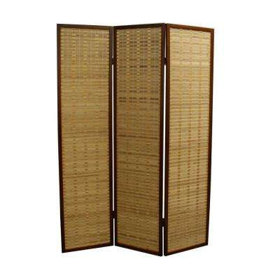 5.85 ft. Honey Brown 3-Panel Room Divider