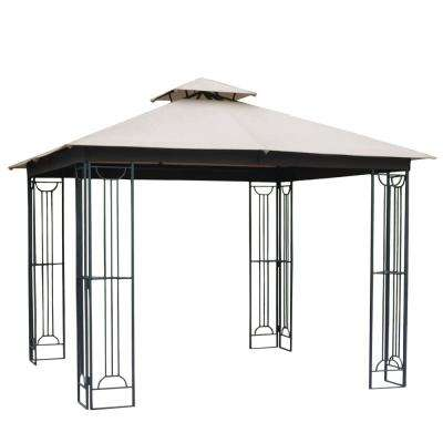 10 ft. x 10 ft. Beige Soft Top Steel/Metal Outdoor Patio Gazebo