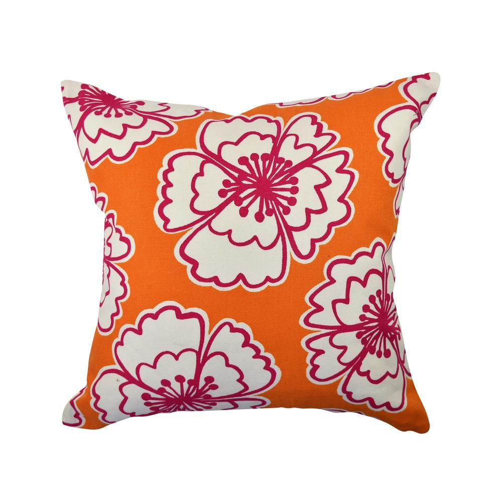 Bold Orange Blooms Throw Pillow