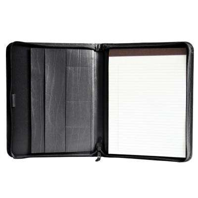 Executive Convertible Zippered Writing Portfolio Organizer, Black