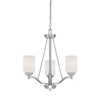3-Light Satin Nickel Chandelier with Etched White Glass