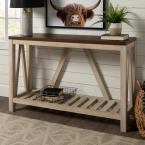 52 in. White Oak Body A-Frame Rustic Entry Console Table with Dark Walnut Top