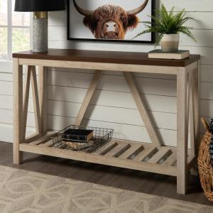52 in. White Oak/Brown Standard Rectangle Wood Console Table with Storage