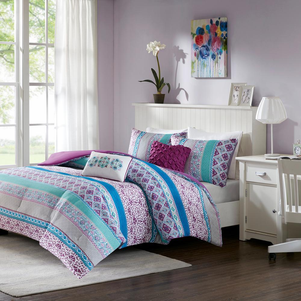 Intelligent Design Adley 4-Piece Purple Twin/Twin XL Boho Comforter Set