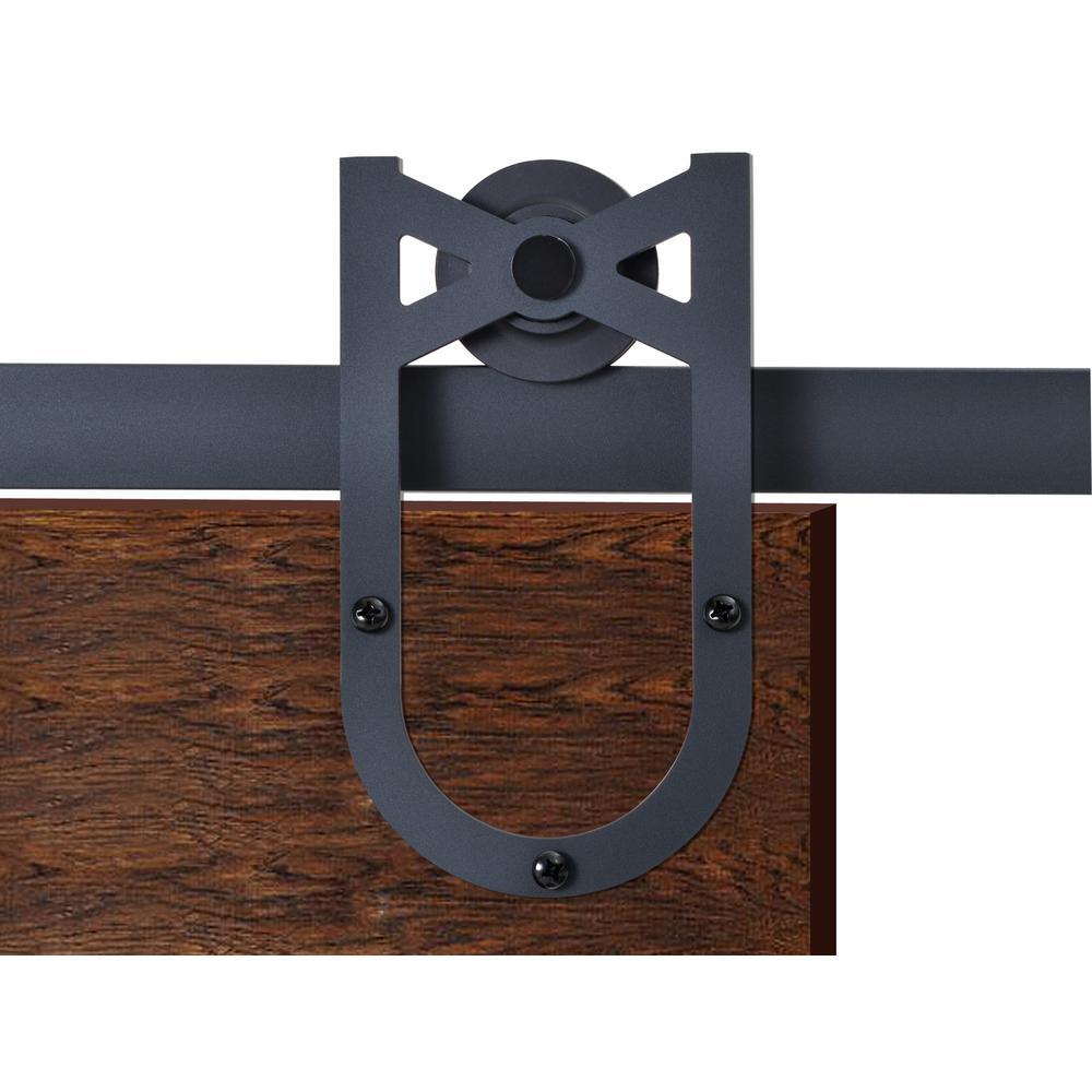 72 in. Matte Black Heirloom Horseshoe Barn Style Sliding Door Track and Hardware Set