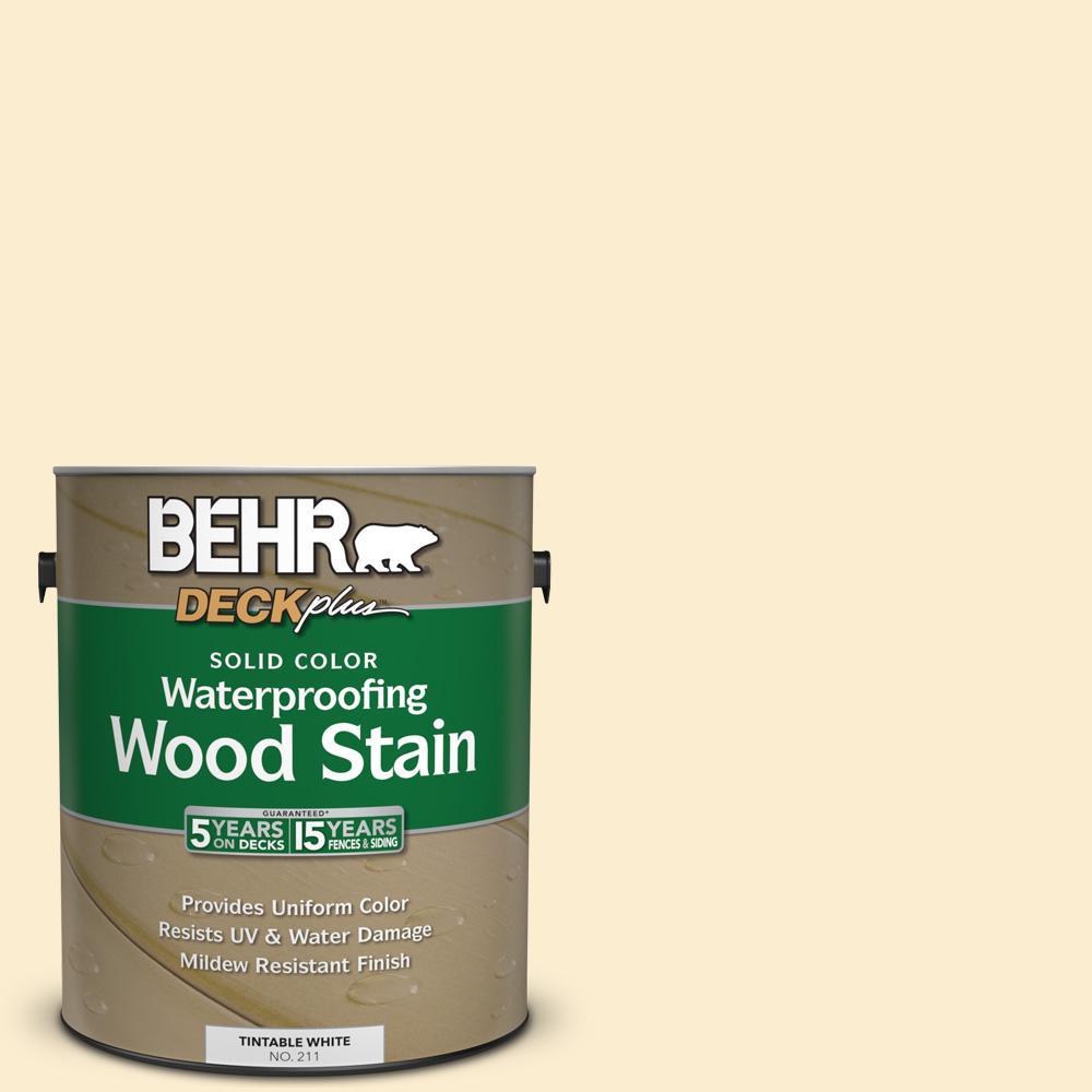 BEHR DECKplus 1 gal. #SC-157 Navajo White Solid Color Waterproofing Wood Stain -  S0059801