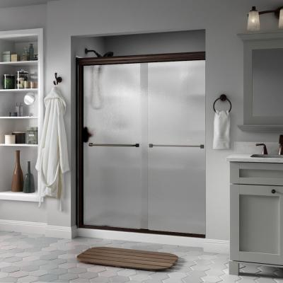 Everly 60 in. x 70 in. Semi-Frameless Traditional Sliding Shower Door in Bronze with Rain Glass