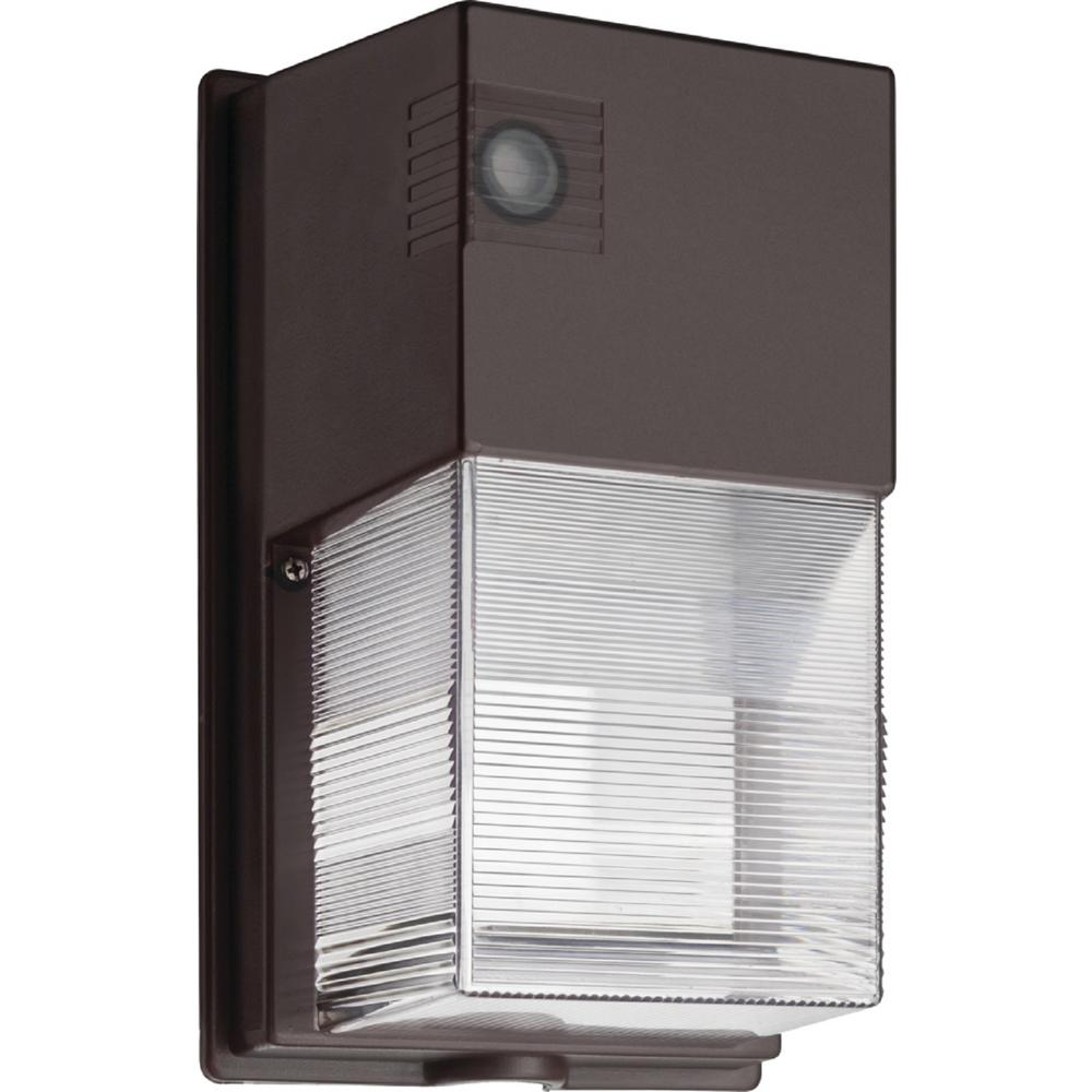 Lithonia Lighting 25-Watt Bronze Outdoor Integrated LED Wall Pack Light with Photocell