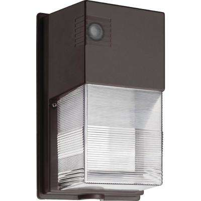 25-Watt Bronze Outdoor Integrated LED Wall Pack Light with Photocell