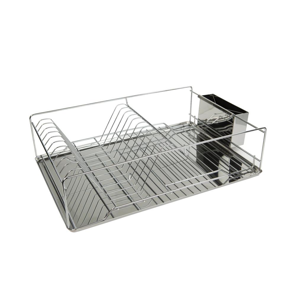 home basics stainless steel dish rack tray in chrome dr10069 the home depot. Black Bedroom Furniture Sets. Home Design Ideas