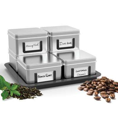 Stax Loose Leaf Tea/ Coffee Canisters with Tray Set (7-Piece)
