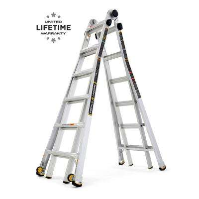 26 ft. Reach MPX Aluminum Multi-Position Ladder with Wheels, 375 lbs. Load Capacity Type IAA Duty Rating