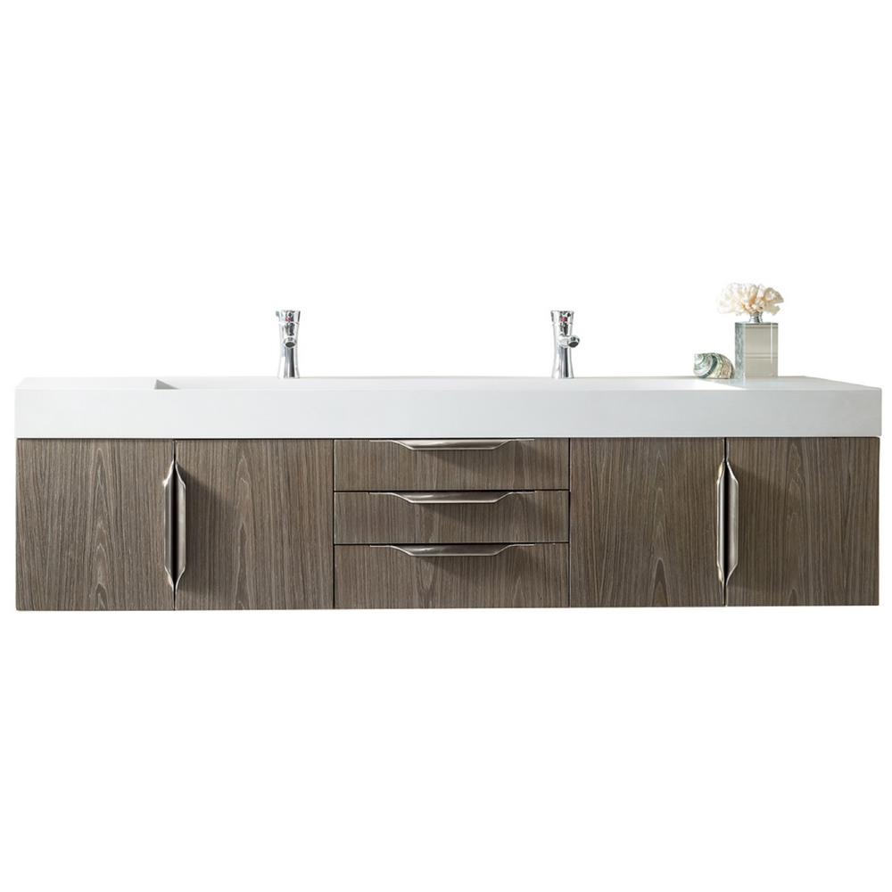 James Martin Vanities Mercer Island 72 in. W Double Bath Vanity in Ash Gray with Solid Surface Vanity Top in Matte White with White Basin