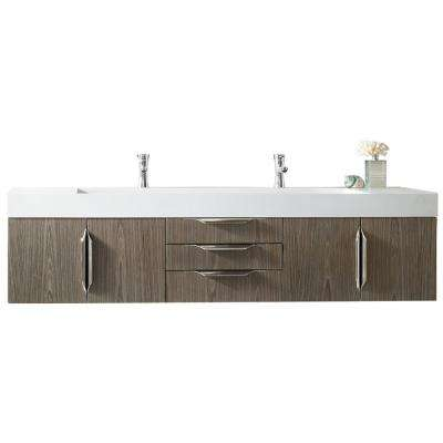 Mercer Island 72 in. W Double Bath Vanity in Ash Gray with Solid Surface Vanity Top in Matte White with White Basin