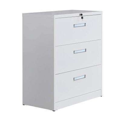 White Metal Vertical Lockable File Cabinet with 3-Drawer