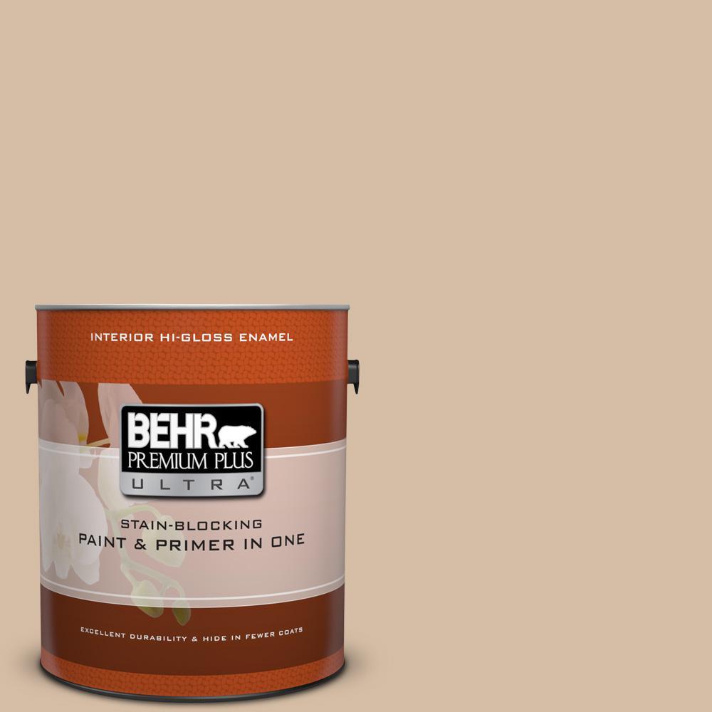 1 gal. #HDC-SM14-3 Concept Beige Hi-Gloss Enamel Interior Paint