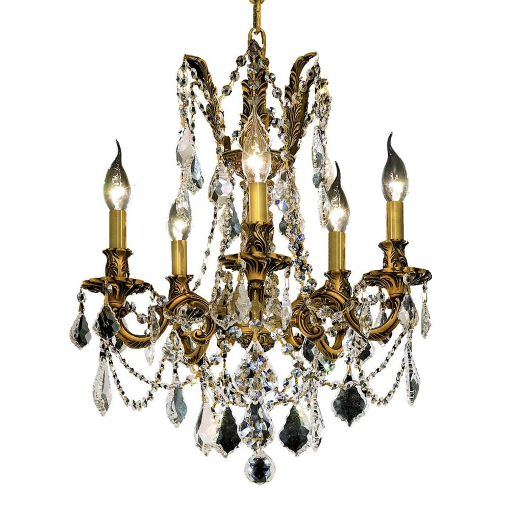 5-Light French Gold Chandelier with Clear Crystal