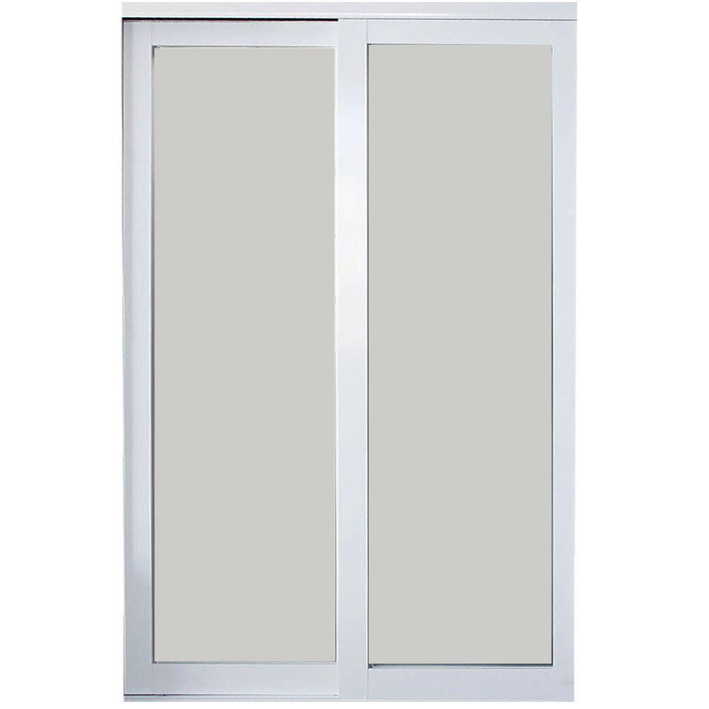 Eclipse Finish Mystique Glass Aluminum Interior Sliding Door
