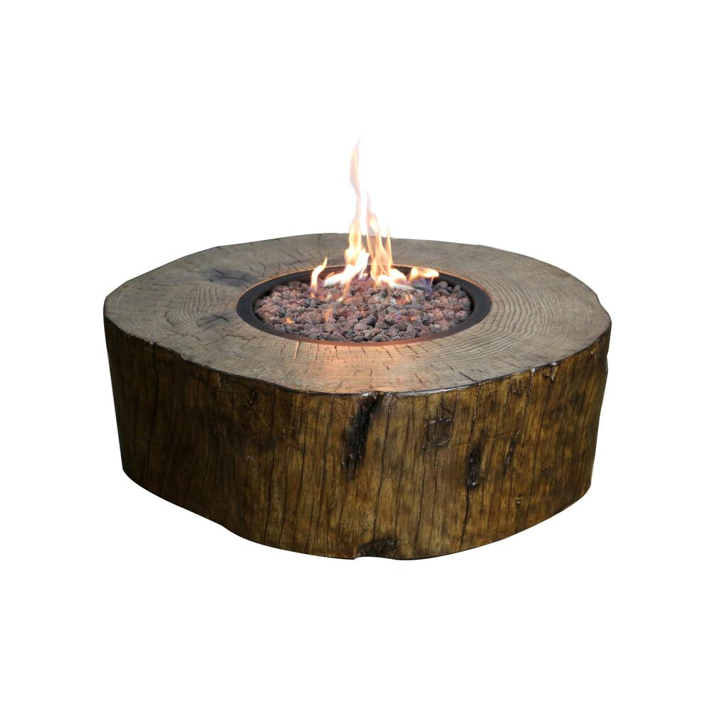Elementi Blazing Timber 37 In Round Eco Stone Propane Fire Pit Natural Brown