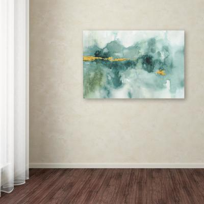 """30 in. x 47 in. """"My Greenhouse Abstract I Crop Blue"""" by Lisa Audit Printed Canvas Wall Art"""