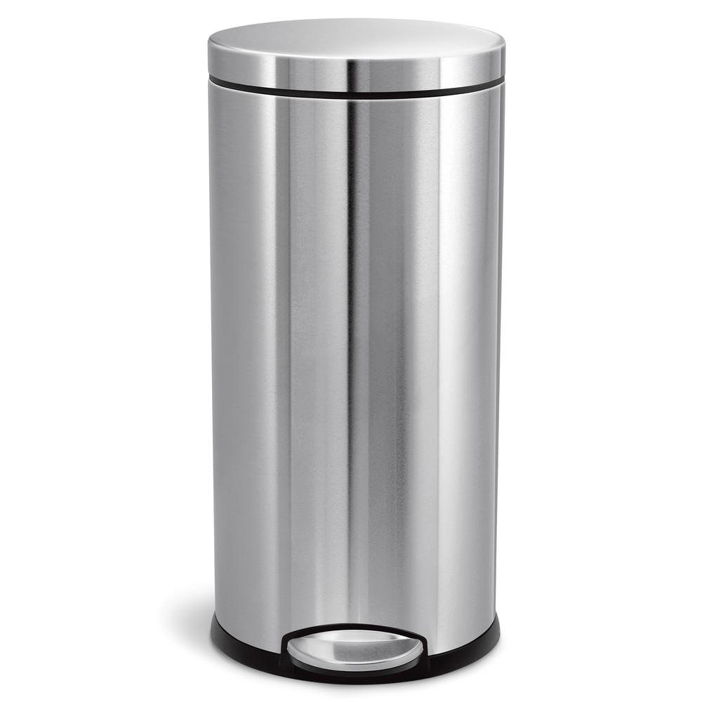 30 Liter Fingerprint Proof Brushed Stainless Steel Round Step On Trash Can