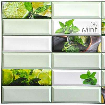 3D Falkirk Retro 10/1000 in. x 38 in. x 19 in. Shades of Green Faux Mint Leaves Lime PVC Wall Panel