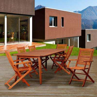 Bay View 7-Piece Eucalyptus Rectangular Patio Dining Set