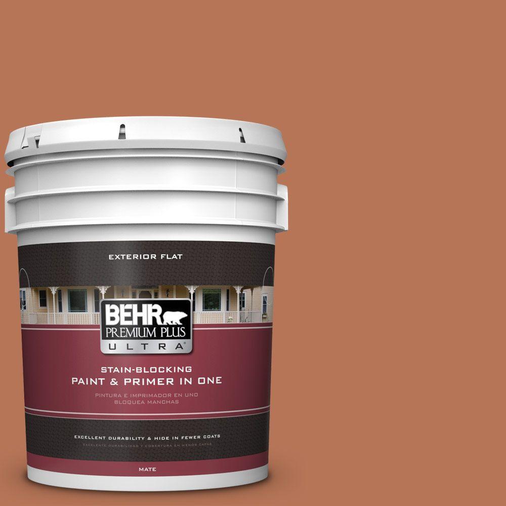 BEHR Premium Plus Ultra Home Decorators Collection 5-gal. #HDC-AC-06 Campfire Blaze Flat Exterior Paint