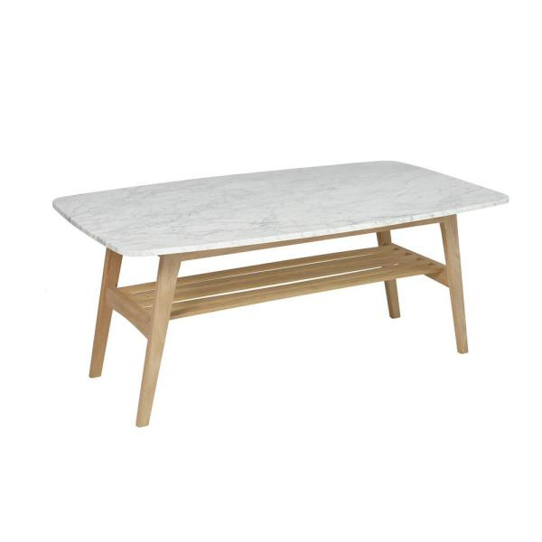 Laura 43 in. White/Oak Large Rectangle Marble Coffee Table with Shelf