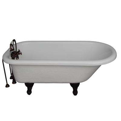 5 ft. Acrylic Ball and Claw Feet Roll Top Tub in White with Oil Rubbed Bronze Accessories