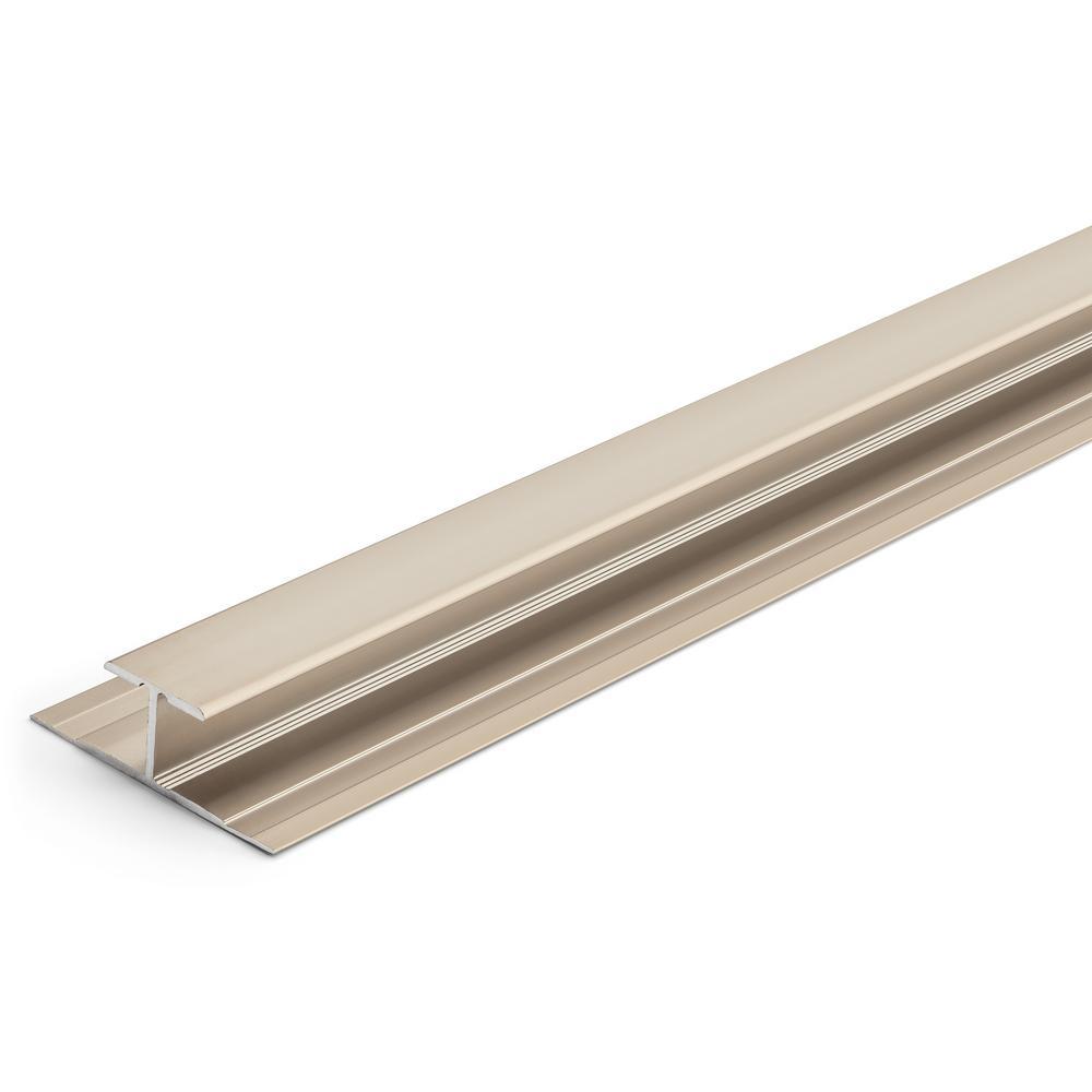8 mm Satin Nickel 1-1/4 in. x 84 in. Aluminum LVT T-Shape Tap Down Transition Strip