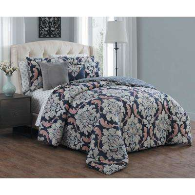 Forte 10-Piece Navy Queen Comforter Set