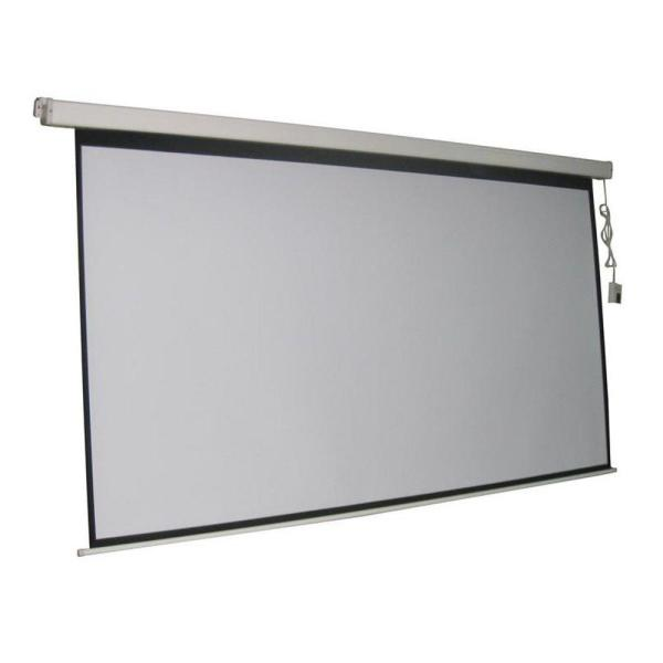 ProHT 100 in. Electric Projection Screen with White Frame