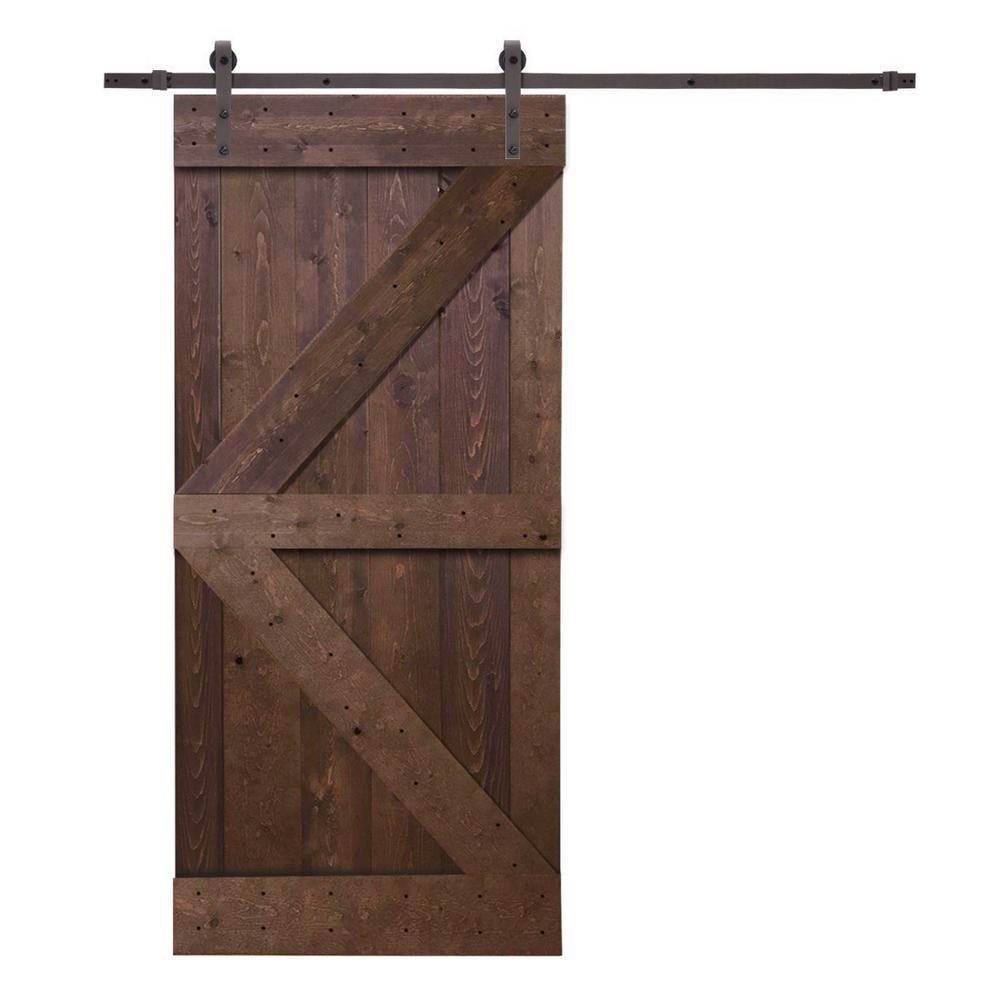 K Style Knotty Pine Wood Barn Door With Sliding Hardware Kit