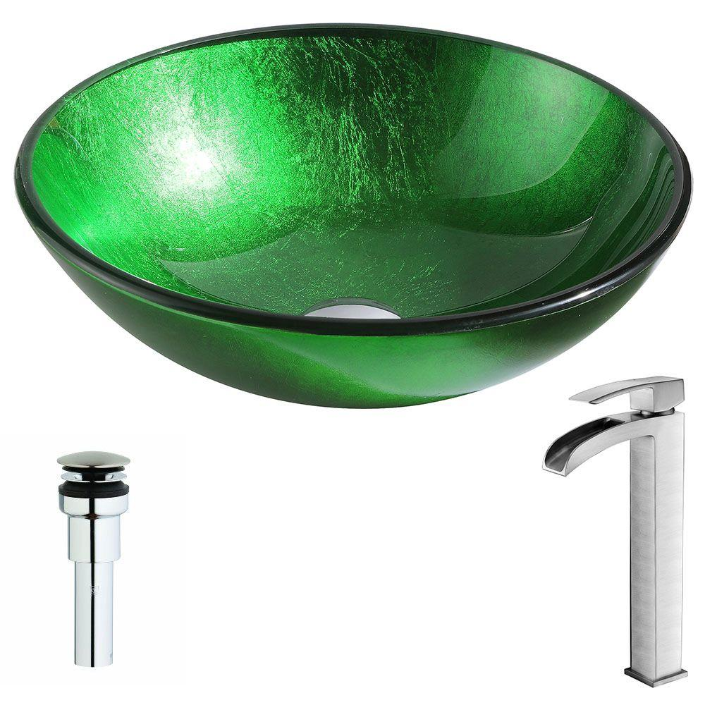 ANZZI Melody Series Deco-Glass Vessel Sink in Lustrous Green with Key Faucet in Brushed Nickel was $295.0 now $236.79 (20.0% off)