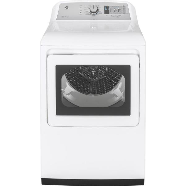 GE 7.4 cu. ft. 120 Volt White Gas Vented Dryer with Steam and Wifi Connected, ENERGY STAR