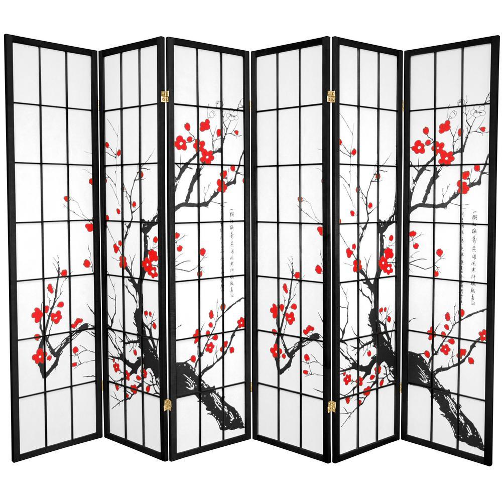 Oriental Unlimited 6 ft. Black 6-Panel Room Divider