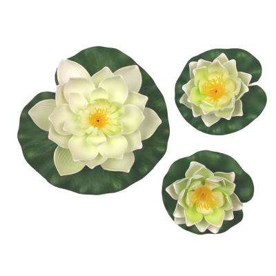 3-Piece Decorative Floating Artificial White Lotus Water Lilies