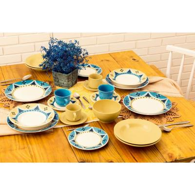 Actual Yellow and Blue 24-Piece Casual Yellow and Blue Earthenware Dinnerware Set (Service for 6)