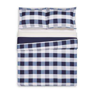 Everyday Buffalo Plaid Navy Full / Queen Duvet Set