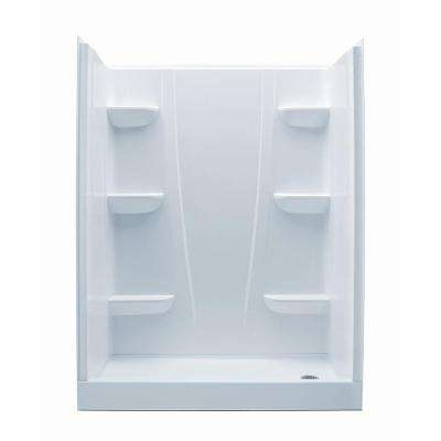 A2 30 in. x 60 in. x 76 in. 4-Piece Shower Stall in White