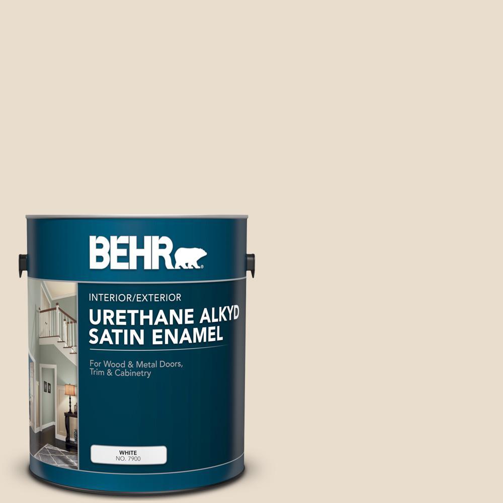 BEHR 1 gal. #YL-W12 Antique White Urethane Alkyd Satin Enamel Interior/Exterior Paint