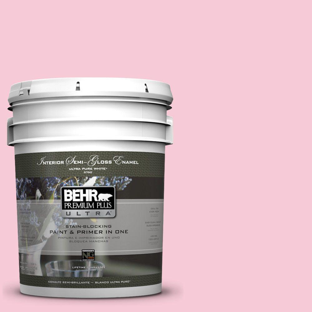 BEHR Premium Plus Ultra 5-gal. #110A-3 Palace Rose Semi-Gloss Enamel Interior Paint
