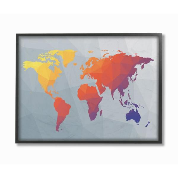 The Stupell Home Decor Collection 11 In X 14 Polygonal World Map