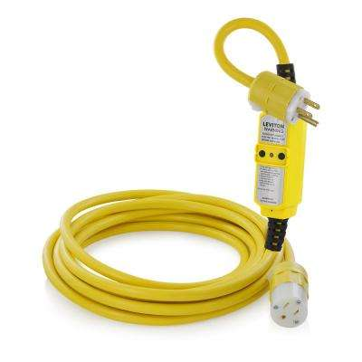 15 Amp Portable GFCI with 25 ft. Cord Set Black and White NEMA Plug (5-15P) and Connector (5-15R), Yellow