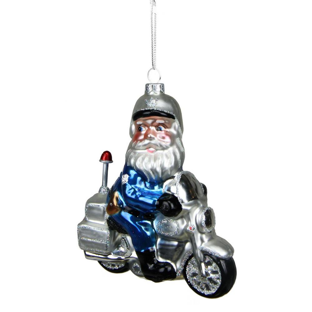 Police Christmas Ornaments.Northlight 5 In Glass Santa Policeman Riding Motorcycle Christmas Ornament