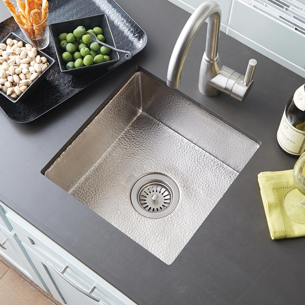NATIVE TRAILS Undermount Copper 15 in. Single Bowl Kitchen Sink in Brushed  Nickel