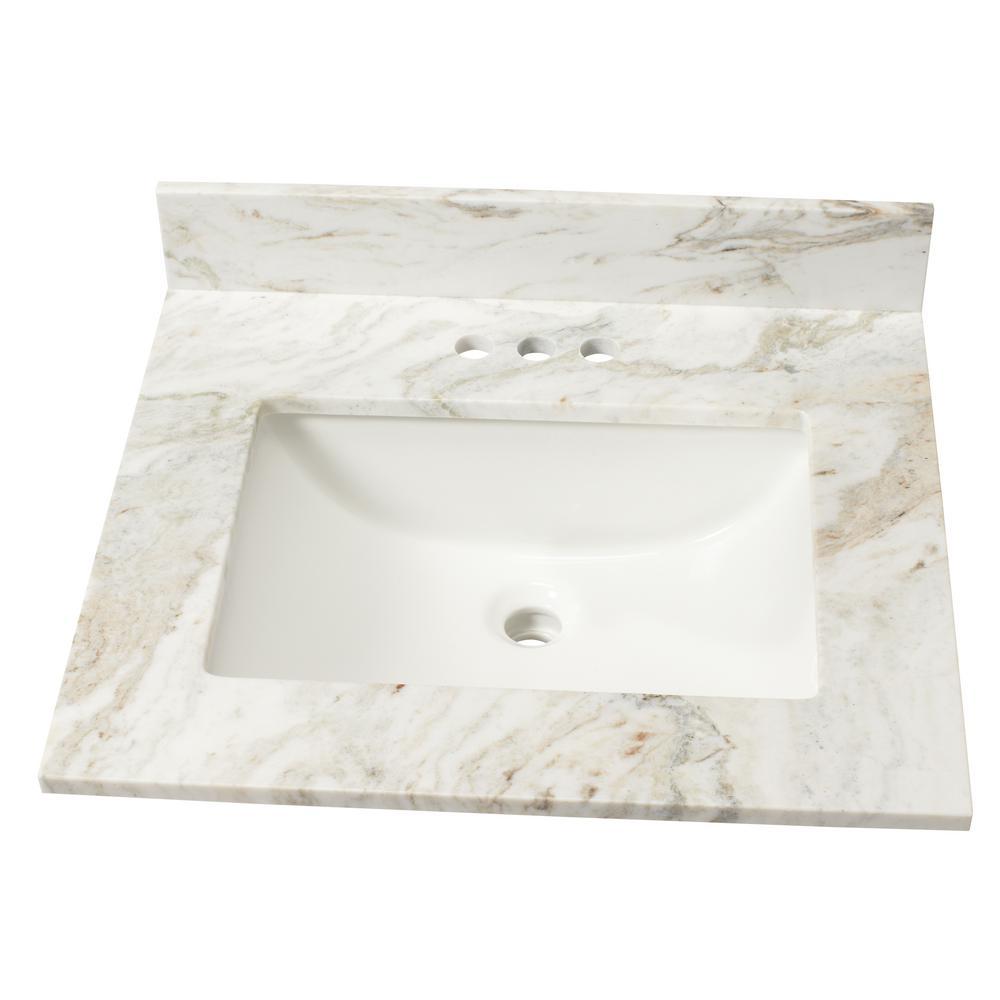 25 in. W Marble Single Sink Vanity Top in Arabescato Venato with White Sink